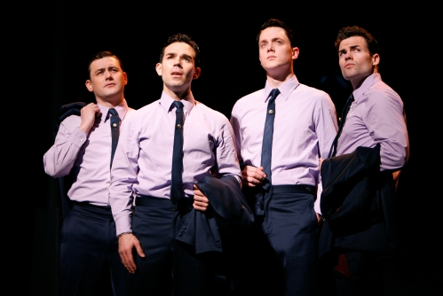Michael Ingersoll, Dominic Scaglione Jr., Shonn Wiley and Michael Cunio in the Chicago production of JERSEY BOYS.  Photo: Joan Marcus