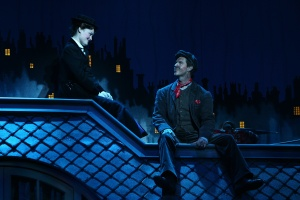 Photo of Ashley Brown as 'Mary Poppins' & Gavin Lee as 'Bert,' original Broadway Company of MARY POPPINS.  ©Disney/CML.  Photo by Joan Marcus.