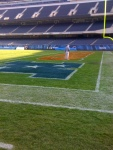 Painting the endzone for Sunday's game