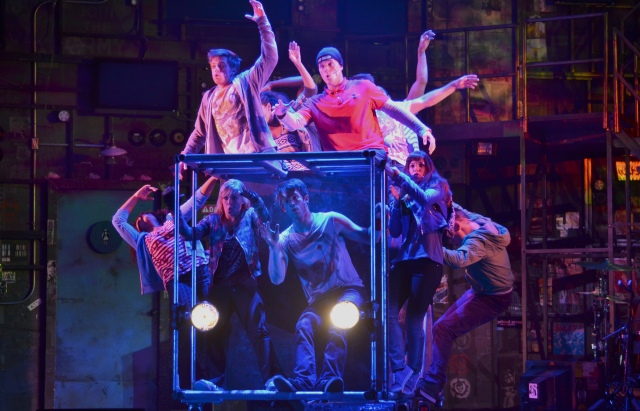 The company of AMERICAN IDIOT (Photo by John Daughtry)