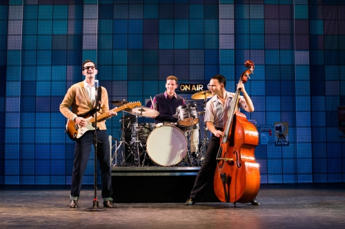 Andy Christopher (Buddy Holly), Joe Cosmo Cogen (Jerry Allison), and Sam Weber (Joe B. Mauldin) in Buddy – The Buddy Holly Story.  Photo: Hilary Camilleri
